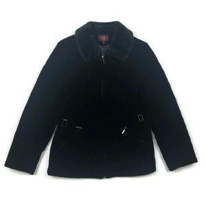 Gallery velvet faux fur collar quilted winter coat